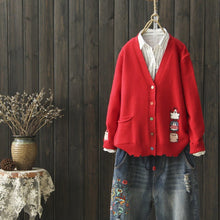 Load image into Gallery viewer, 4 Colors Kawaii Cartoon Knitting Cardigan S13164