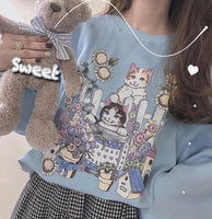 4 Colors Kawaii Cat Sunflower Pullover Jumper SP13191