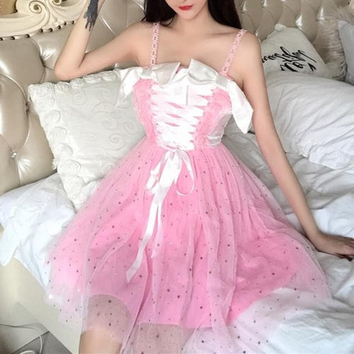 4 Colors Kawaii Lace Bow Tule Camisole Dress SP13977