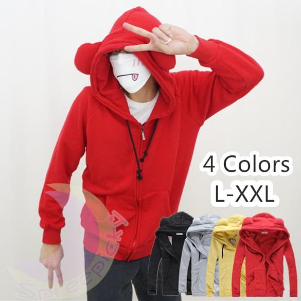 [4 Colors] L-3XL Good Quality Loose Bear Ear Hoodie Cotton Coat Jacket SP141468 - SpreePicky  - 1