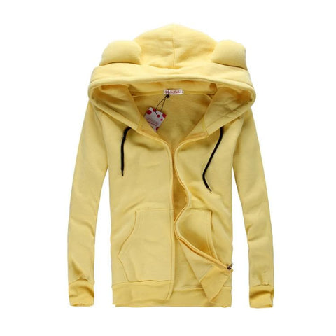[4 Colors] L-3XL Good Quality Loose Bear Ear Hoodie Cotton Coat Jacket SP141468 - SpreePicky  - 2