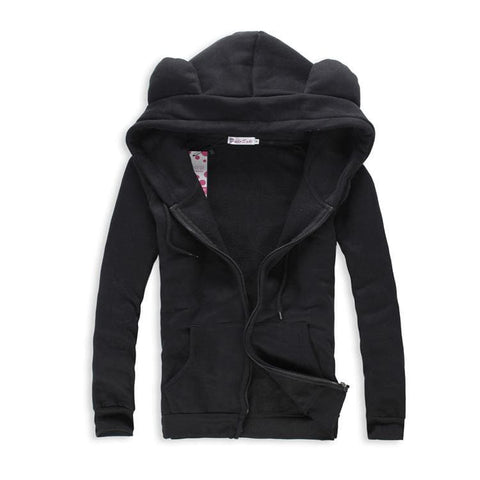 [4 Colors] L-3XL Good Quality Loose Bear Ear Hoodie Cotton Coat Jacket SP141468 - SpreePicky  - 4