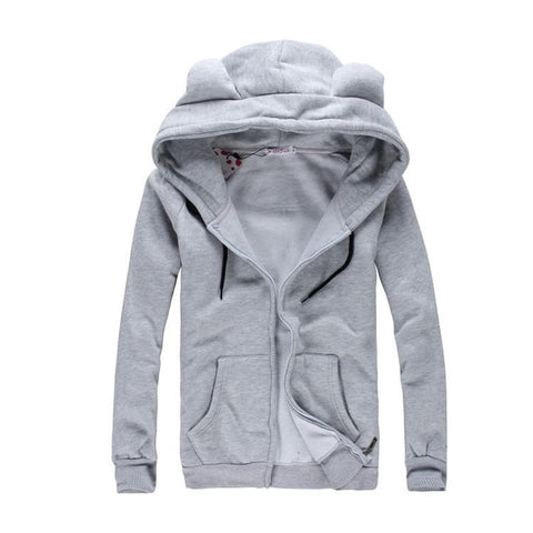 [4 Colors] L-3XL Good Quality Loose Bear Ear Hoodie Cotton Coat Jacket SP141468 - SpreePicky  - 5