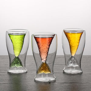 4 Colors Mermaid Double Layer Wine Glass SP14101