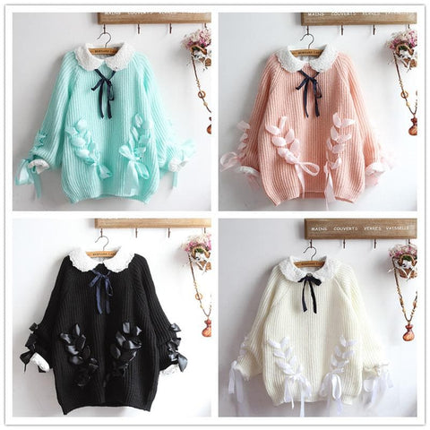 4 Colors Ribbon Bow Heart Sweater SP1711276