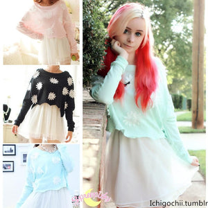 [4 Colors] Sun Flower Top + Suspender Skirt Dress 2 PCS Set SP140352 - SpreePicky  - 1