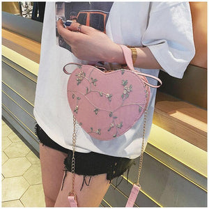 4 Colors Sweet Flower Heart Handbag/Cross Body Bag SP14021