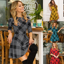 Load image into Gallery viewer, 4 Colors Sweet Grid Half Sleeve Dress SP14444