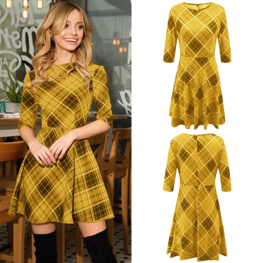 4 Colors Sweet Grid Half Sleeve Dress SP14444