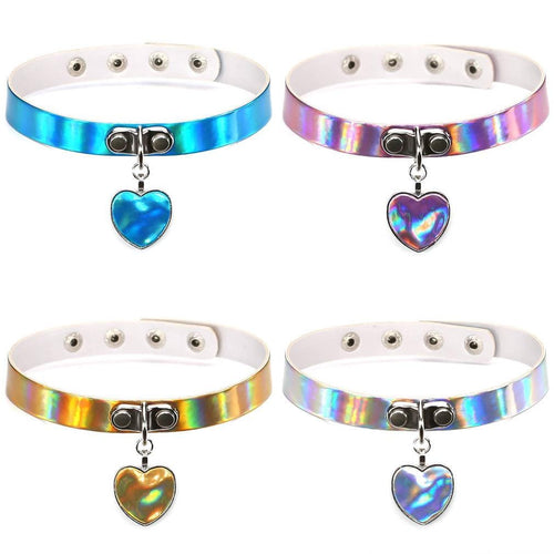 4 Colors Sweet Heart Hologram Choker SP13698