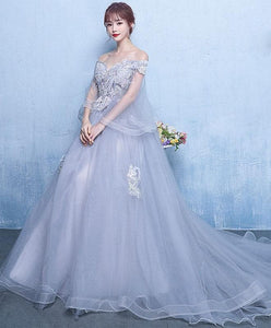 Gray Tulle Lace Long Prom Dress Gray Tulle Lace Evening Dress - DelaFur Wholesale