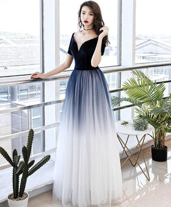 Simple Blue Tulle Long Prom Dress Blue Tulle Evening Dress - DelaFur Wholesale