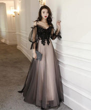 Load image into Gallery viewer, Black Tulle A Line Lace Long Prom Dress Tulle Lace Formal Dress - DelaFur Wholesale