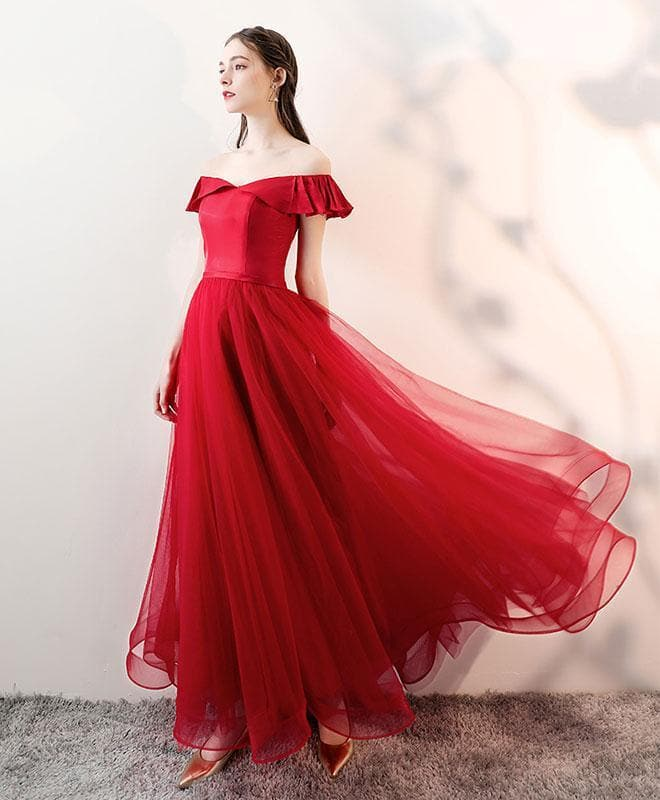 Simple Burgundy Tulle Long Prom Dress, Burgundy Tulle Evening Dress - DelaFur Wholesale