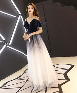Simple Dark Blue Tulle Long Prom Dress, Blue Evening Dress - DelaFur Wholesale