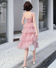 Load image into Gallery viewer, Simple Pink Tulle Short Prom Dress, Pink Homecoming Dress - DelaFur Wholesale