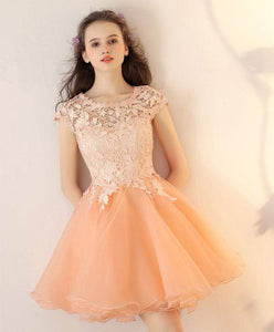 Champagne Tulle Lace Short Prom Dress, Champagne Homecoming Dress - DelaFur Wholesale