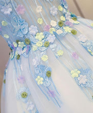 Load image into Gallery viewer, Cute Blue Lace Applique Short Prom Dress, Homecoming Dress - DelaFur Wholesale