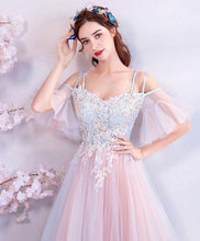 Load image into Gallery viewer, Pink Sweetheart Tulle Lace Applique Long Prom Dress, Pink Evening Dress - DelaFur Wholesale