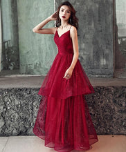 Load image into Gallery viewer, Burgundy V Neck Tulle Long Prom Dress, Burgundy Evening Dress - SpreePicky FreeShipping