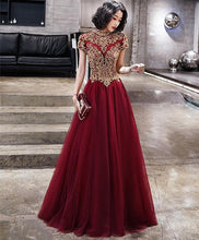 Load image into Gallery viewer, Burgundy Tulle Beads Long Prom Dress, Tulle Burgundy Evening Dress - DelaFur Wholesale