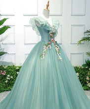 Load image into Gallery viewer, Green V Neck Tulle Long Prom Dress, Green Evening Dress - DelaFur Wholesale