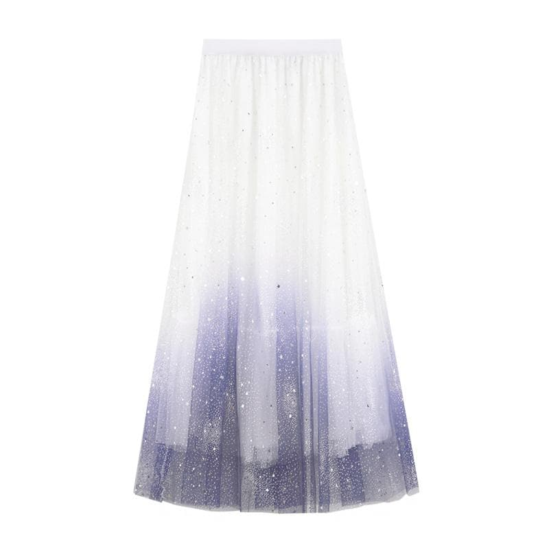 4 colors Gradient Galaxy Star Tulle Skirt SP13744