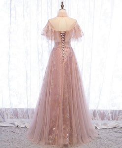Pink tulle lace long prom dress pink tulle formal dress A032 - DelaFur Wholesale