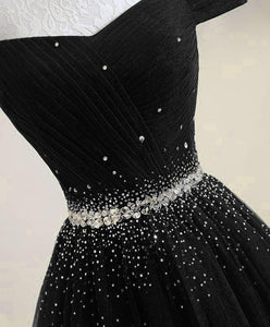 Black Tulle Sequin Long Prom Dress, Black Tulle Evening Dress - DelaFur Wholesale