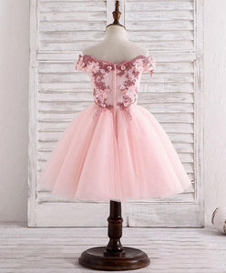 Pink Tulle Lace Applique Short Flower Girl Dresses - DelaFur Wholesale
