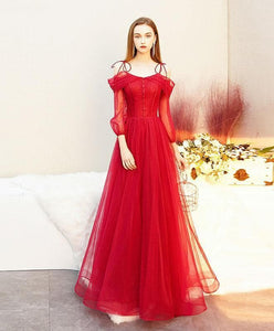 Red Tulle Long Prom Dress, Tulle Red Evening Dress - DelaFur Wholesale