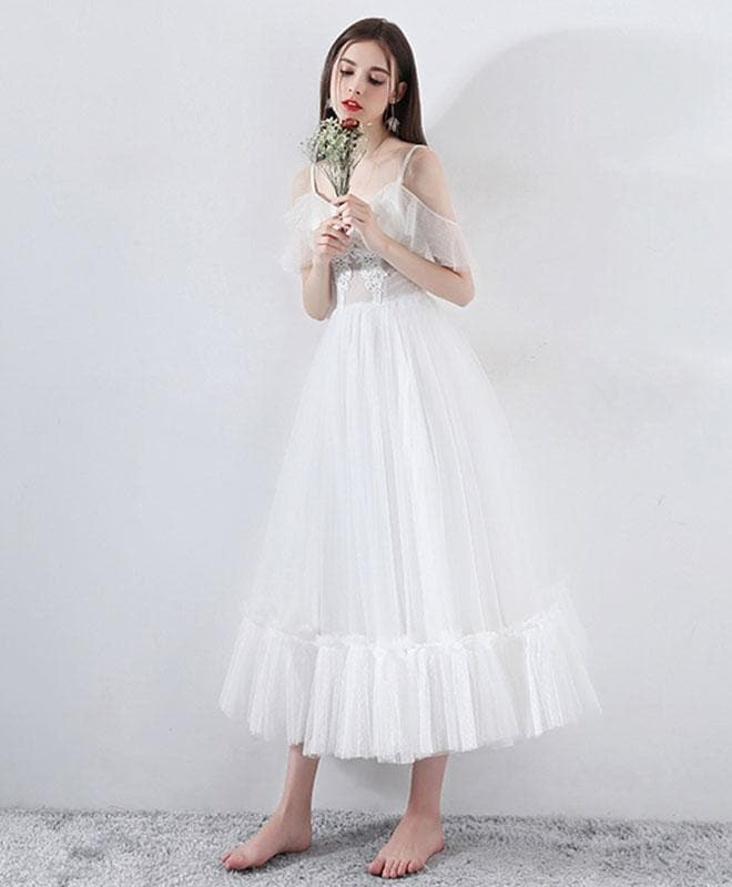 White Tea Length Tulle Prom Dress, White Evening Dress - DelaFur Wholesale