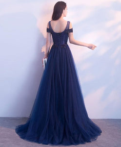 Dark Blue Tulle Long Prom Dress, Blue Evening Dresses - DelaFur Wholesale