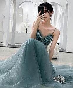 Green Sweetheart Tulle Sequin Long Prom Dress Tulle Formal Dress - DelaFur Wholesale