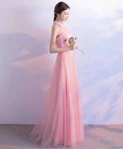 Pink Tulle Lace Long Prom Dress, Pink Tulle Evening Dress - DelaFur Wholesale