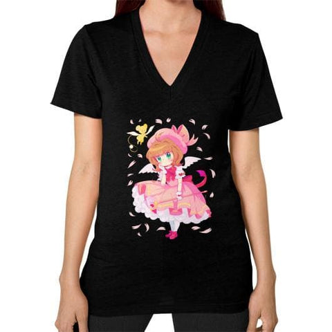 Wonderful Sakura V-Neck Woman Tee Shirt - SpreePicky  - 4