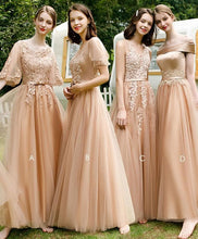 Load image into Gallery viewer, Champagne Tulle Lace Long Prom Dress Champagne Bridesmaid Dress - Harajuku Kawaii Fashion Anime Clothes Fashion Store - SpreePicky