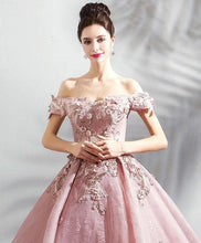 Load image into Gallery viewer, Pink Tulle Off Shoulder Long Prom Dress, Pink Lace Evening Dress - DelaFur Wholesale