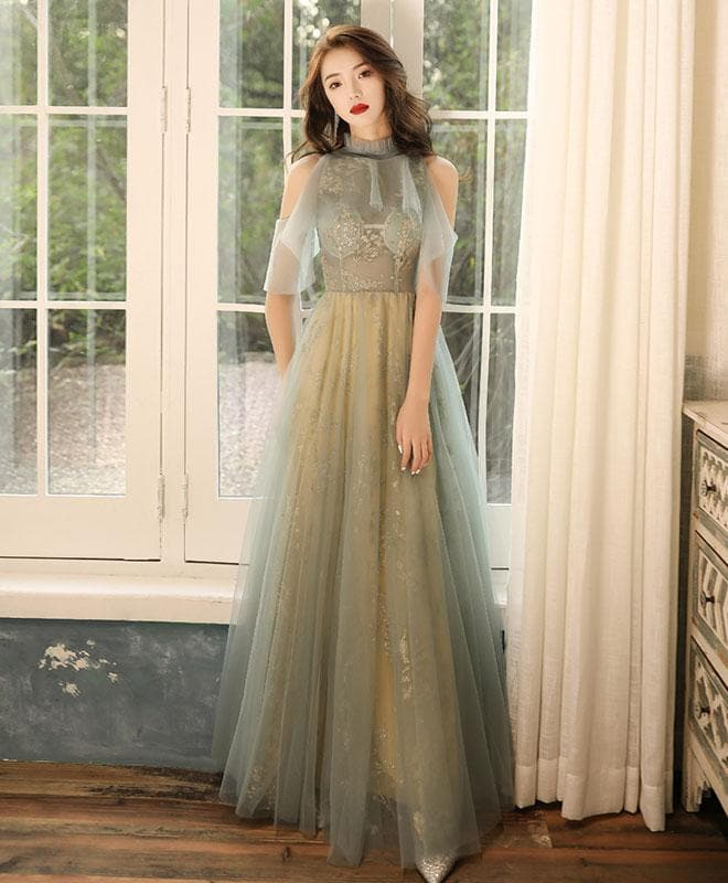 Green Tulle Hight Neck Tulle Lace Long Prom Dress Tulle Formal Dress - DelaFur Wholesale