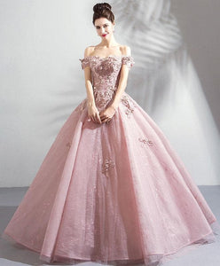 Pink Tulle Off Shoulder Long Prom Dress, Pink Lace Evening Dress - DelaFur Wholesale