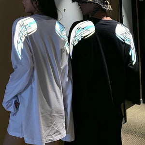 Rainbow Wings Reflective Moon Long Sleeve Shirt Loose Men and Women Couple SP14474