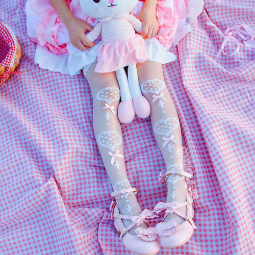 Ultra Thin Silk Heart Patterned Lolita Over-the-knee Socks SS0765