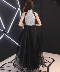 Black Sequin Tulle Long Prom Dress, Black Tulle Evening Dress - DelaFur Wholesale