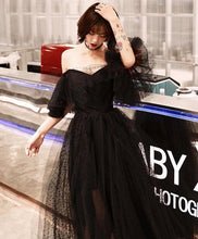 Load image into Gallery viewer, Black Tulle Tea Length Prom Dress, Black Evening Dress - DelaFur Wholesale