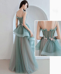 Green Tulle Lace Long Prom Dress, Green Tulle Lace Evening Dress - DelaFur Wholesale