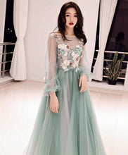 Load image into Gallery viewer, Green Tulle Lace Applique Long Prom Dress, Green Evening Dress - DelaFur Wholesale
