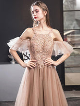 Load image into Gallery viewer, Champagne Tulle Lace Long Prom Dress, Champagne Lace Evening Dress - DelaFur Wholesale