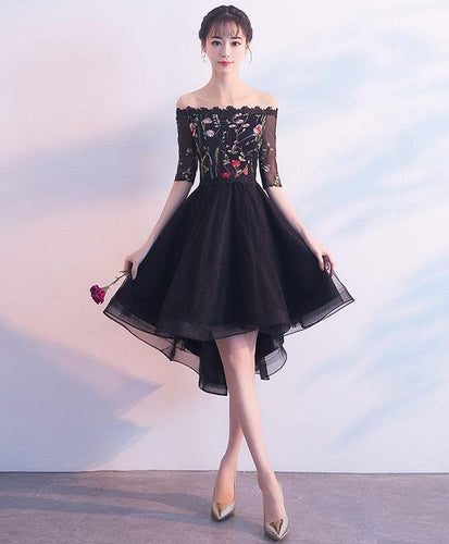 Black Tulle Lace Short Prom Dress, Black Evening Dress - DelaFur Wholesale