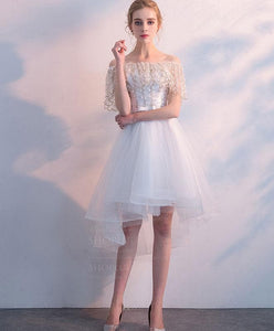 White Tulle Lace Short Prom Dress, White Homecoming Dress - DelaFur Wholesale