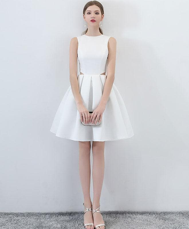 Simple White Satin Short Prom Dress, White Homecoming Dress - DelaFur Wholesale